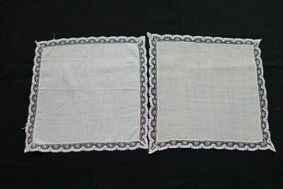 """2 VINTAGE HANDKERCHIEFS EDGED IN LACE - ONE WHITE ONE CREAM 9"""" x 9"""" APPROX"""