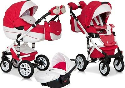 RIKO BRANO ECCO RED 15 PRAM 3in1 CARRYCOT + PUSH CHAIR + CAR SEAT