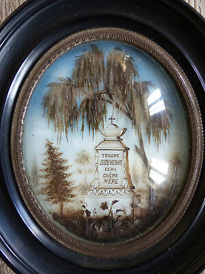 SUPERB ANTIQUE FRENCH SENTIMENTAL MOURNING HAIR ART w. TOMB c.1850's
