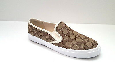 8744326681 NEW COACH CHRISSY Slip On Sneakers black flat canvas A00245 ...