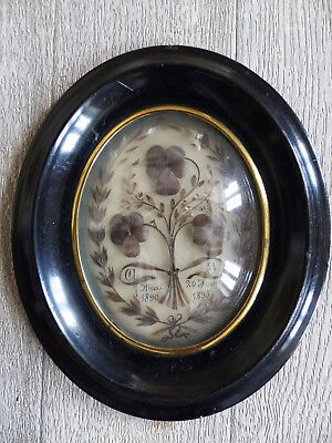 """SUPERB ANTIQUE FRENCH SENTIMENTAL MOURNING HAIR ART dated 1895 . 7 1/2 """""""