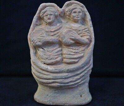 Ancient Roman Ceramic Statue. Terracotta Figurine of Two Musicians, 250-300 AD