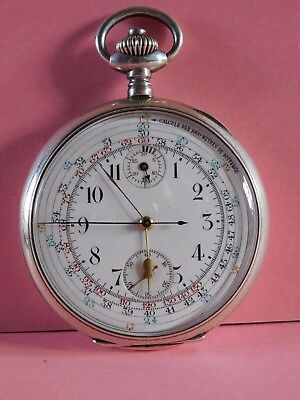 Antique Solid Silver Ancre Chronograph Pocket Watch Very Nice Movement !!