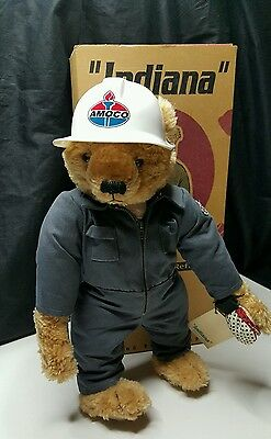 """AMOCO 1999 """" INDIANA """" Collectible Bear  by Sally Morrison Stringer MIB"""