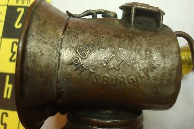 "Rare Antique Brass ""grier Bros"" Coal Mine Mining Carbide Lamp Light"