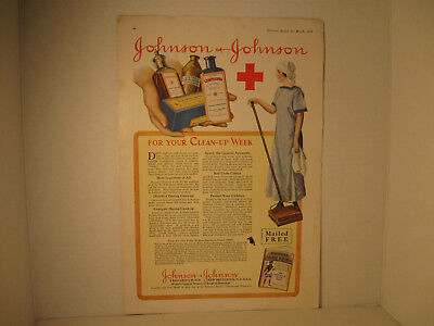 Vintage Johnson & Johnson Red Cross Magazine Ad, Pictorial Review, March 1917