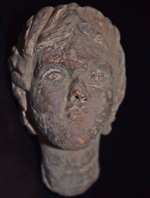 Ancient Roman Ceramic Statue. Clay Bust Head of Roman Emperor, circa 250-300 AD.