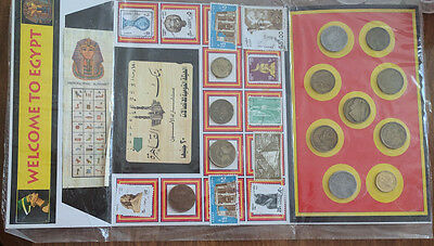 Egypt old coins Coins,10 postal stamp and Book Mark