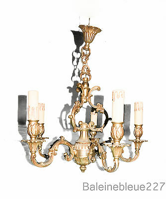 Old French Gold Bronze bird cage chandelier 5 arms lights Louis XV vintage