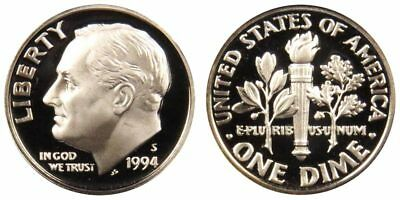 1994-S PROOF 90% SILVER Roosevelt Dime , Gem Cameo , FREE SHIPPING!