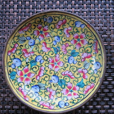 Enamel / Brass Dish Plate Cloisonne Hand Painted Round Vintage Bright Colors #E8