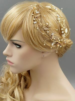 Flower Bridal Hair Clip Pin Crystal Pearl Headpiece Wedding Accessory 07223 Gold