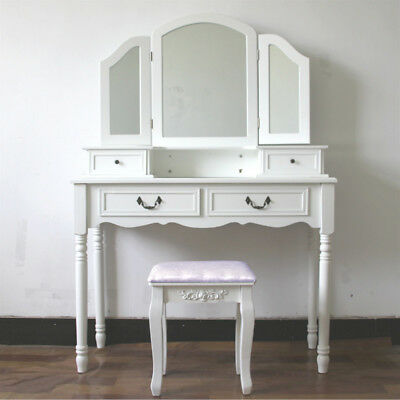 White Dressing Table Set Stool Large With 3 Panel Mirror Makeup Desk Bedroom UK