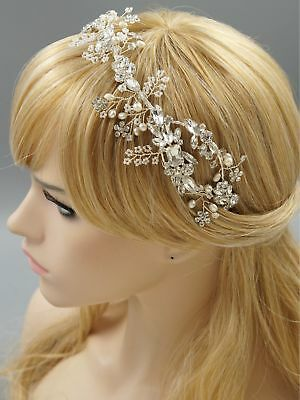 Crystal Freshwater Pearl Headband Headpiece Tiara Bridal Wedding Accessory 438 S