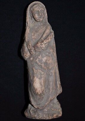 Ancient Roman Ceramic Statue. Clay Figurine of Roman Woman, circa 250-350 AD.