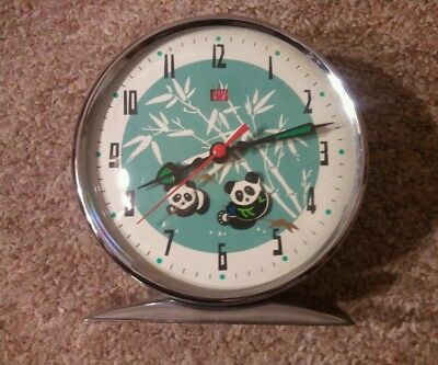 Vintage Mechanical/Wind Up ALARM CLOCK with MOVING PANDA BEAR full working order