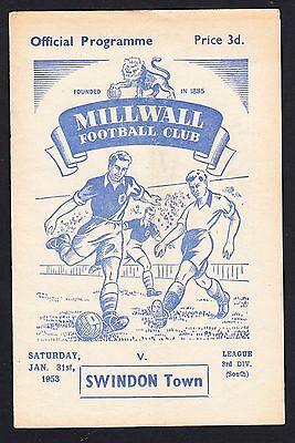 Football Programme Millwall v Swindon Division 3 South 31 January 1953