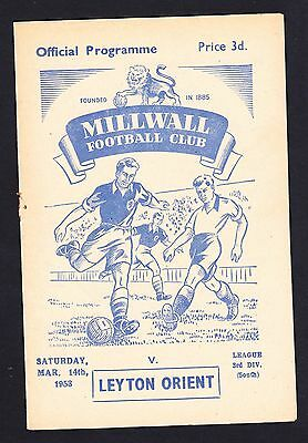 Football Programme Millwall v Leyton Orient Division 3 South 14 March 1953