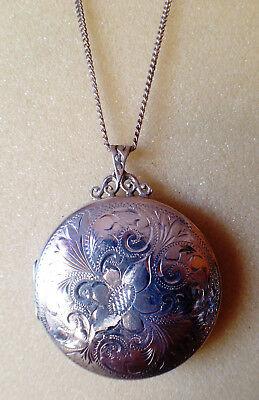 Solid Silver large round locket and chain necklace