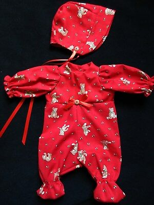 "2 Piece Christmas Sleeper Set For Vintage 12"" Vogue Baby Dear Doll"