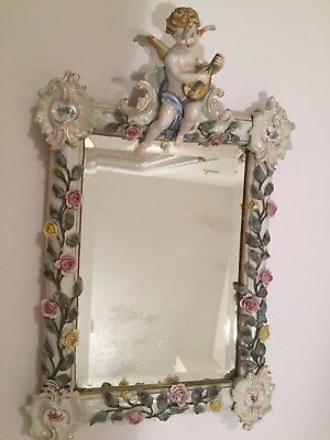 Beautiful Dresden Style Porcelain Wall Mirror  With Cherub And Applied Flowers