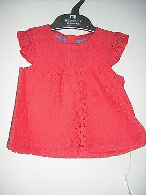 BNWT - Mothercare Pretty Lace 'Effect' Blouse Age 0-6 months