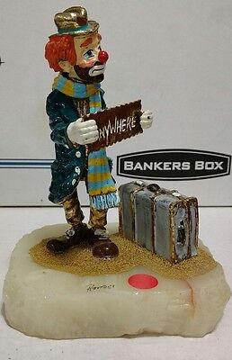 "Large 8"" high Ron Lee ""Hobo Anywhere"" cast iron clown on quarz base"