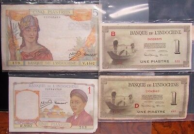 French Indochina Paper Moneylot, 1 & 5 Piastres Bills From 1930's,  2 From 1951