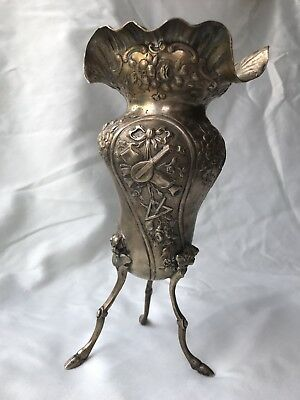 Very Ornate 800 Pure Silver Small German Vase w Putti Cherubs Repousse Flowers