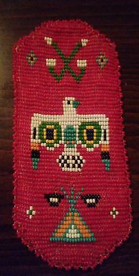 Vintage Indian Seed Bead Leather Thunderbird Eye Glass Holder Pouch