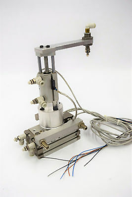 SMC MSQB10H3-F9PL Rotary Actuator w/Table & CDQMB12-25 Air Cylinder