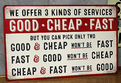 Vintage look GOOD CHEAP FAST work EMBOSSED METAL signs SHOP GARAGE repair auto
