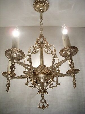 1920's Ornate Silver Chandelier RESTORED signed COLONIAL CHANDELIER WORKS