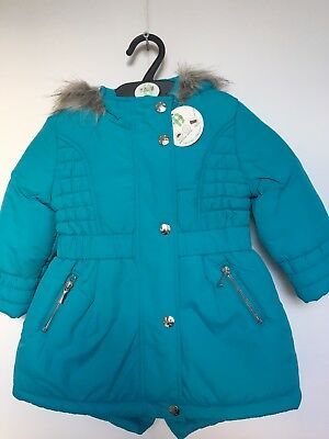 BNWT BHS Winter Coat. Hooded. Girls. Turquoise. Age 2-8 Years. Lined.