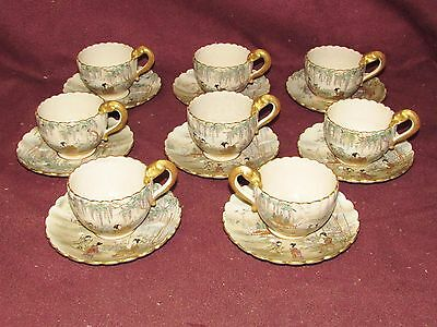 Antique Japanese Satsuma Cup and Saucer Signed with Butterfly Decoration 8 pcs