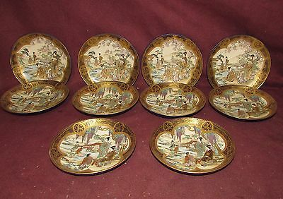 Antique Japanese Satsuma Ceramic Dishes 10 pcs Exceptional Quality signed