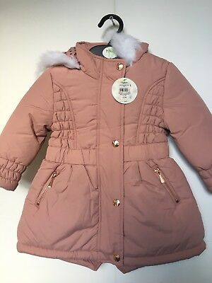 BNWT BHS Winter Coat. Hooded. Girls. Dusty Pink. Age 2-8 Years. Lined.
