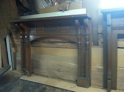 Antique Vtg Hand Carved Wood Fireplace Mantle Architectural Salvage