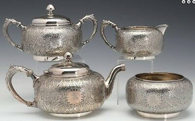 1880s Hand Chased Art Nouveau 4pc Victorian Silver Tea Set Derby Silver Company