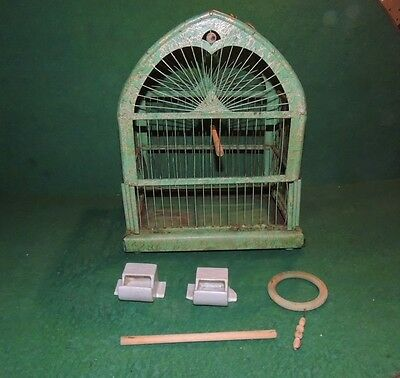 Antique Dome Wire Bird Cage With Spring Door Slide out Bottom Original Feeder