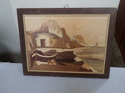 Inlaid Wood Picture Seaside