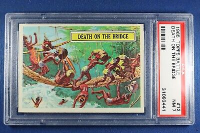 1965 Topps Battle Cards - #12 Death On The Bridge - Graded PSA 7 NM
