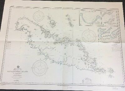 Vintage Hydrographic Map, Nautical Chart - San Cristobal Island, Soloman Islands