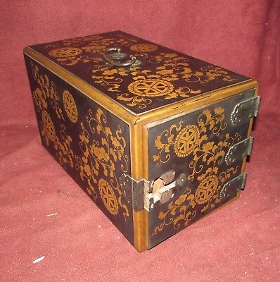 Antique Japanese Lacquer Box with Bronze Mounts