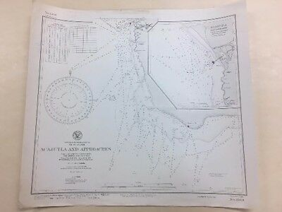 Vintage Hydrographic Map, Nautical Chart of Acajutla, El Salvador
