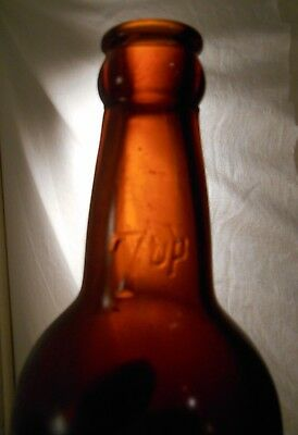 Amber Brown, Squat 7Up Bottle Dallas, Texas Embossed 7 Up (Property Of Seven Up)