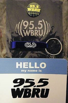 Radio Station WBRU 95.5 FM Can Coozie, Sticker, Pin and Bottle Opener Keychain