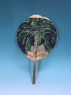 Old Vintage Palmolive Soap Beauty Advertising Promotional Cardboard Hand Fan