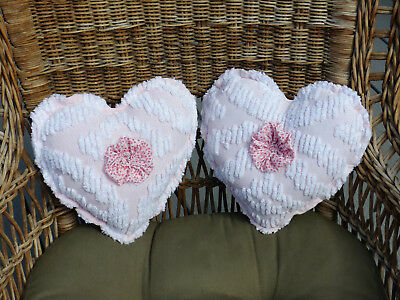 Pair Vintage chenille Bedspread Heart Pillows pink, lavender 2