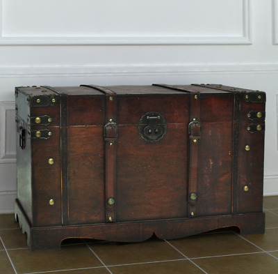 Wooden Storage Trunk Vintage Coffee Chest Brown Side Table Living Room Furniture